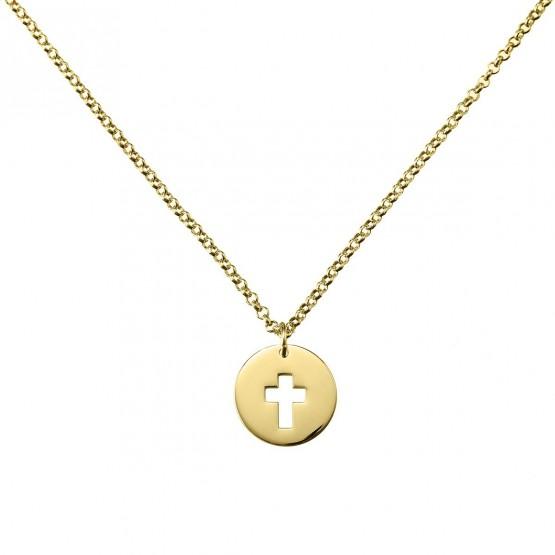 Collar de plata dorada Cruz calada (3A8307307)