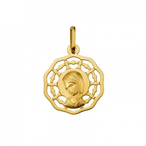 Medalla calada de oro Virgen niña con trenza (1825105)