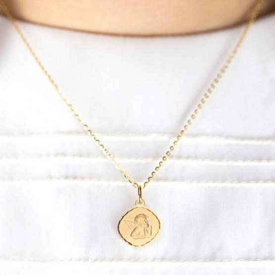 Medalla de oro angelito cuadrada (1600454N)