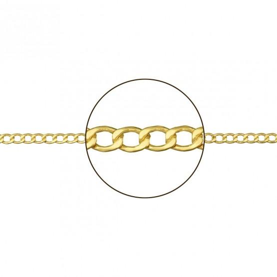 Cadena barbada de oro amarillo hueca (094110050)
