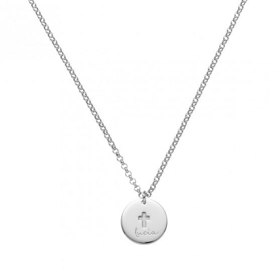 Medalla de oro blanco comunión Cruz Clásica grabado