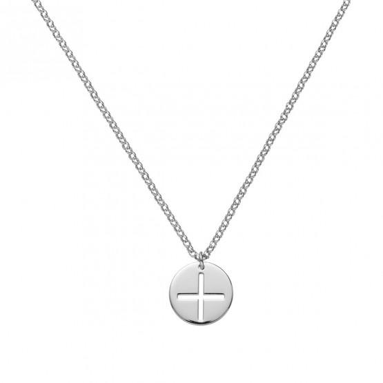 Medalla comunión disco cruz calada Oro blanco