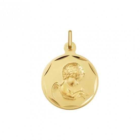Medalla de oro angelito con estrella en sus manos