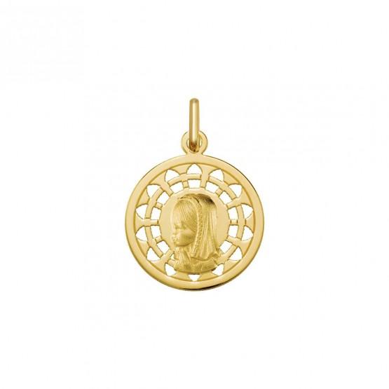 Medalla comunión Virgen niña con orla