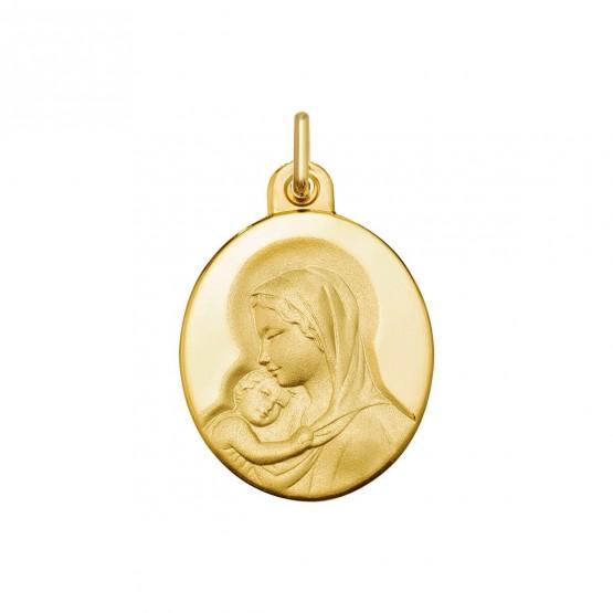 Medalla de oro Virgen con niño forma oval