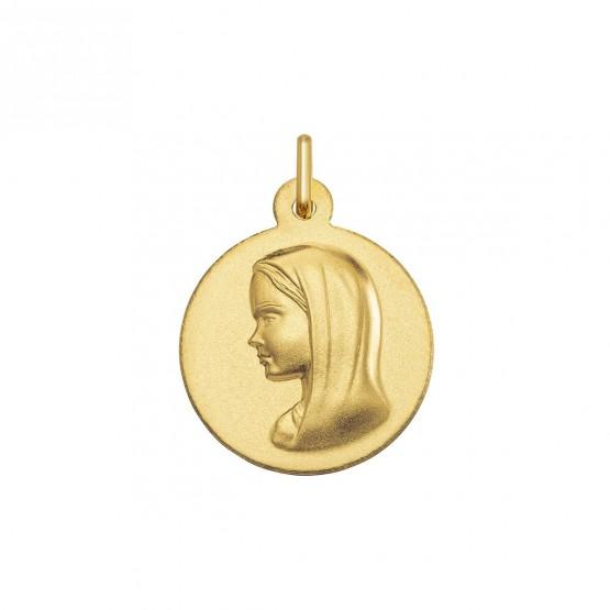 Medalla de oro 18k Virgen con manto acabado mate