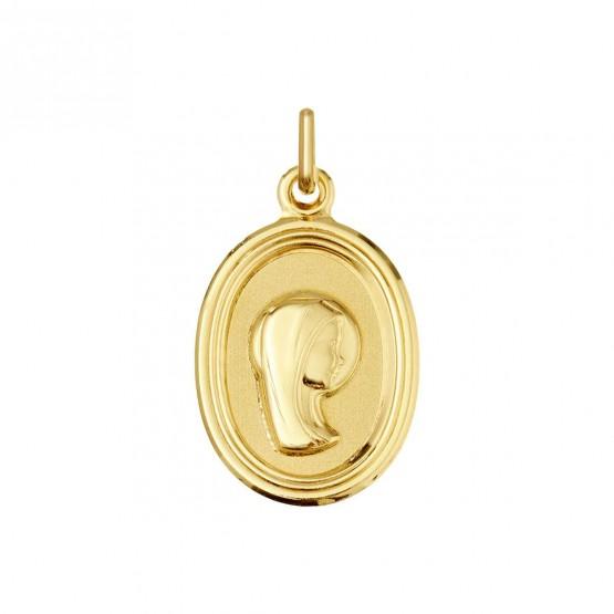 Medalla de oro Virgen niña forma oval