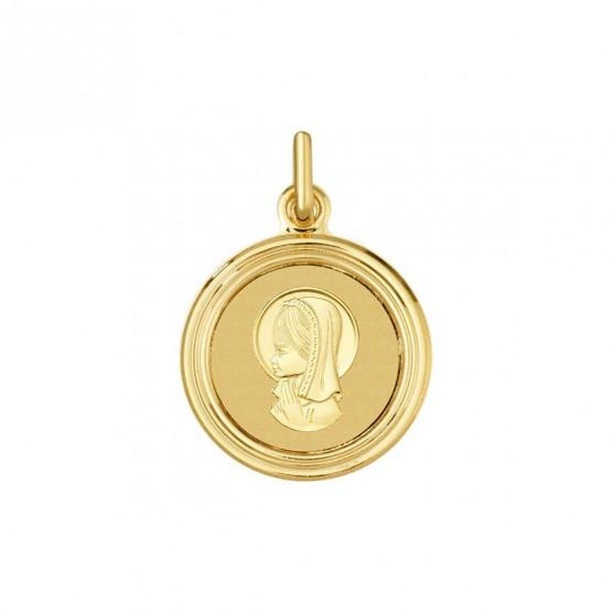 Medalla de comunión oro Virgen niña