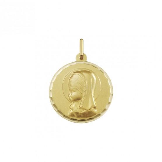 Medalla de oro Virgen niña bisel ondas