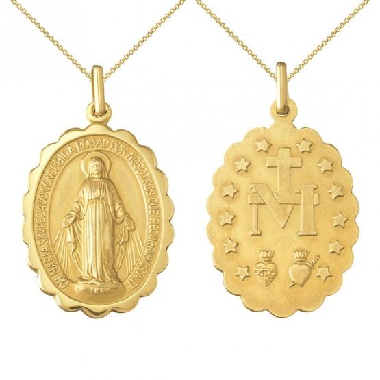Medalla milagrosa en plata dorada con cadena