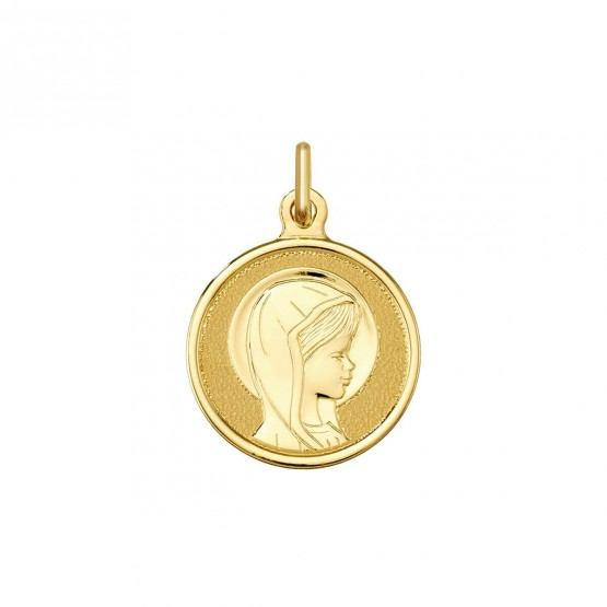 Medalla comunión Virgen niña velo mate-brillo