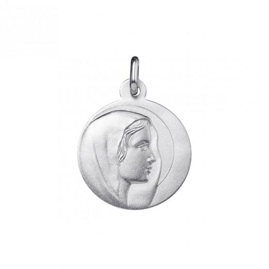 Medalla Virgen con manto de oro blanco