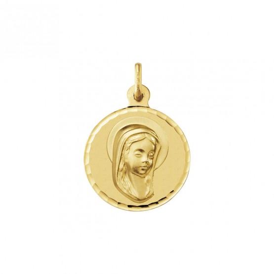 Medalla comunión Virgen niña con velo