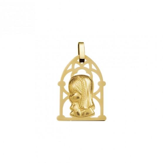 Medalla comunión Virgen niña orla calada