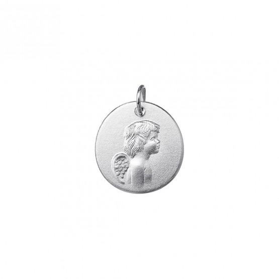Medalla de bautizo en oro blanco Angelito