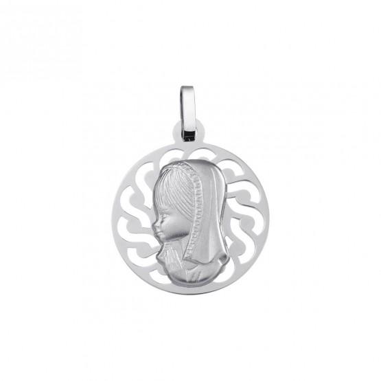 Medalla de comunión plata Virgen niña