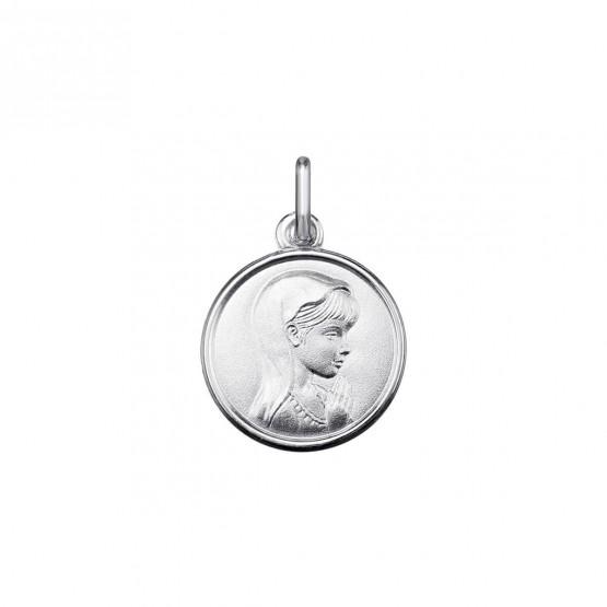 Medalla de la Virgen Niña en oro blanco