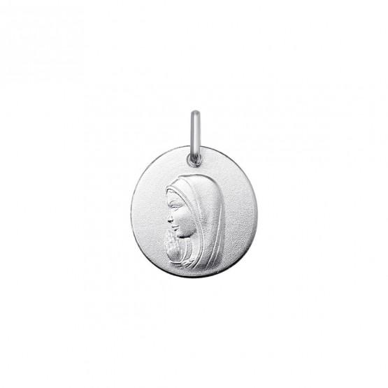 Medalla de la Virgen rezando en oro blanco