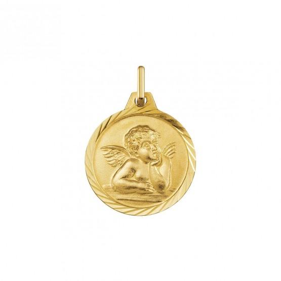 Medalla de oro amarillo redonda Angelito Rafael