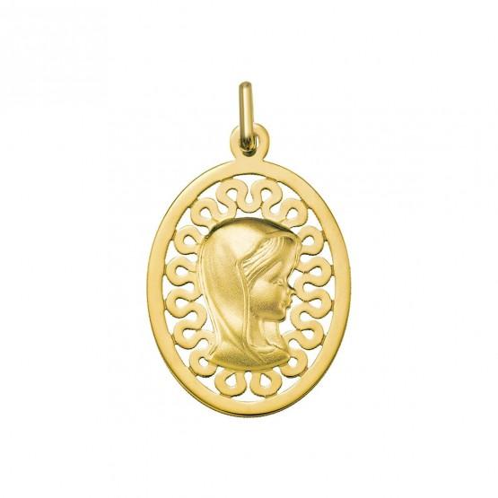 Medalla de oro amarillo Virgen niña orla  calada