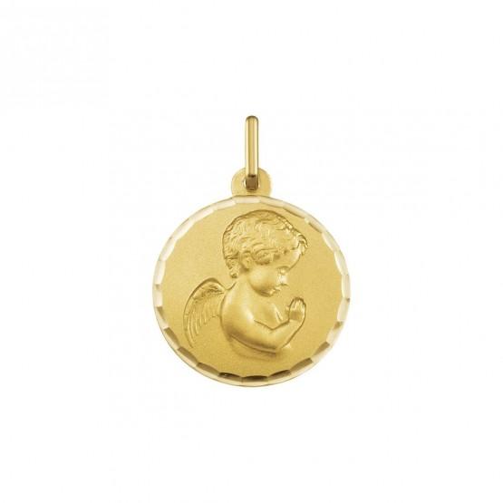 Medalla de oro Angelito orando redonda