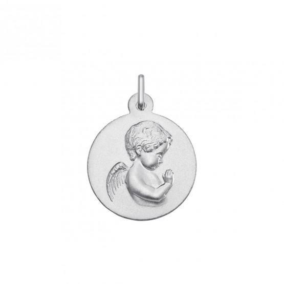 Medalla de oro blanco imagen Angelito rezando (1B603419M)